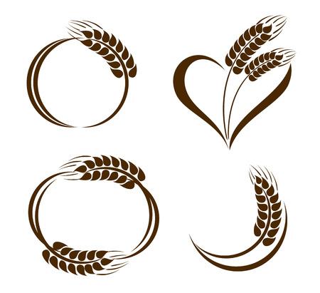 Conjunto de fondos oídos del trigo iconos Ilustración de vector