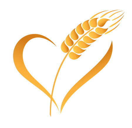 caryopsis: Abstract wheat ears icon with heart element Illustration