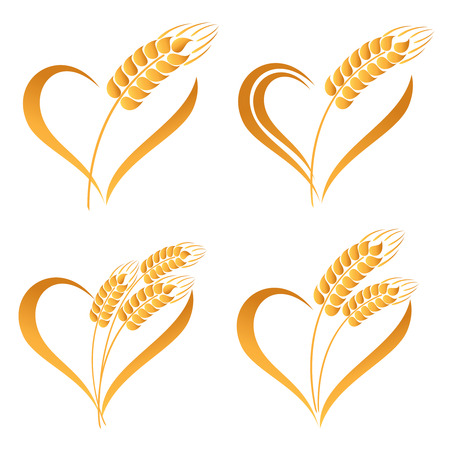 caryopsis: Set of abstract wheat ears icons with heart element Illustration