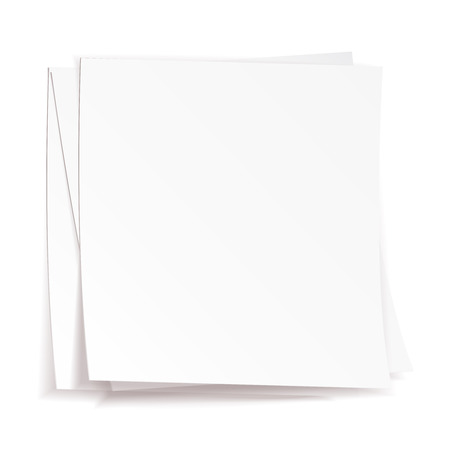 Stack of white papers on white background