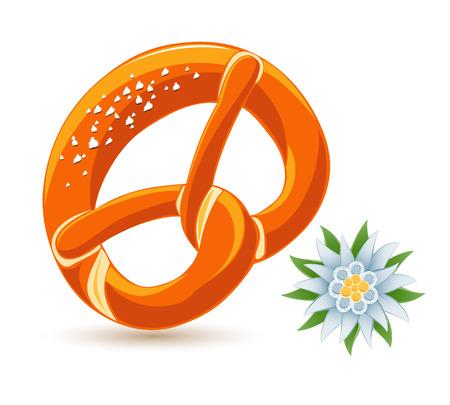 bavarian culture: Bavarian pretzel and edelweiss