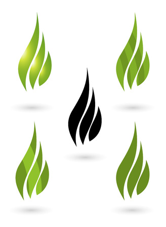 gas flame: Collection of green fire icons