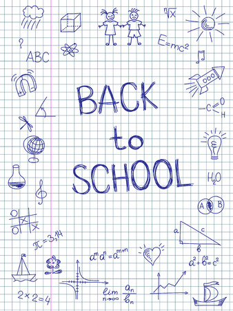 Hand drawn Back to School sketch on squared notebook paper
