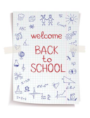 Dessiné à la main Retour à l'école de croquis sur papier de cahier carré Banque d'images - 30028650