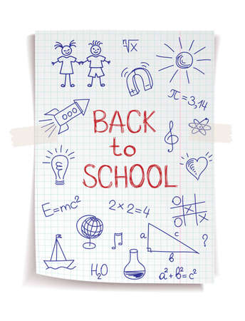 Hand drawn Back to School sketch on squared notebook paper Vector