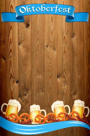 古い木製のテクスチャ上のオクトーバーフェストのバナー