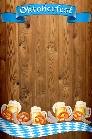 Oktoberfest banner on old wooden texture
