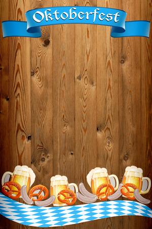 Oktoberfest banner on old wooden texture Stock fotó - 30065821