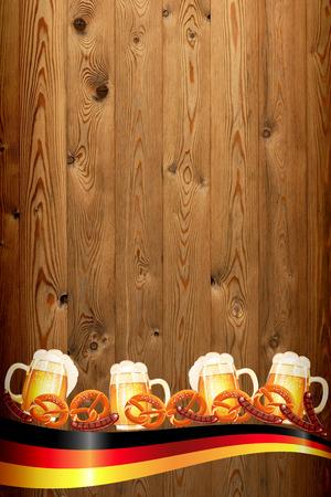 Oktoberfest banner on old wooden texture photo