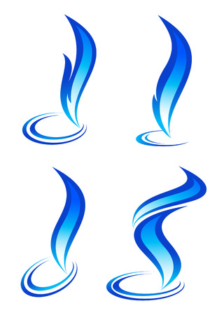 Collection of blue fire icons Vector