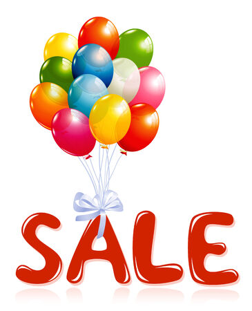 hot announcement: Sale message with balloons Illustration