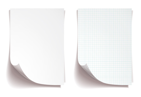note pad: White squared notebook paper on white background
