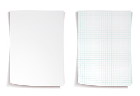 squared: White squared notebook paper on white background