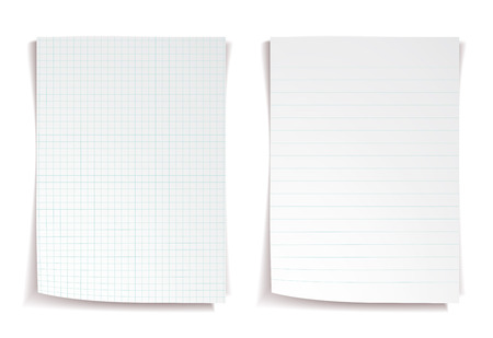 squared: White notebook paper on white background