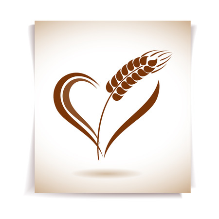 wheat bread: Abstract wheat ears icon with heart element Illustration