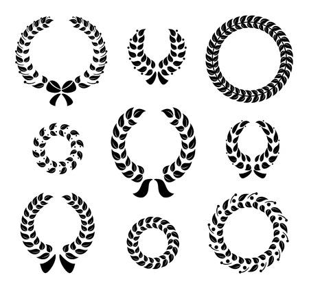 Set of silhouette circular laurel wreaths Vector