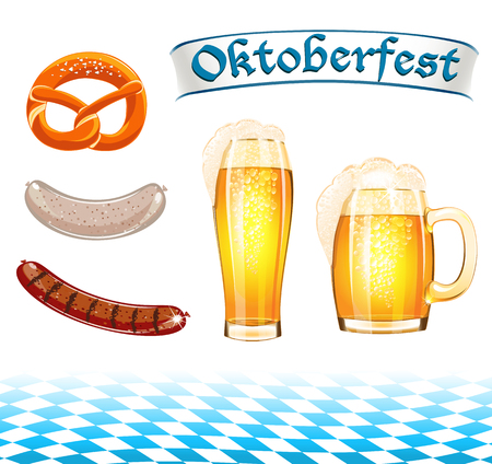 Set of Oktoberfest food and design elements Vector