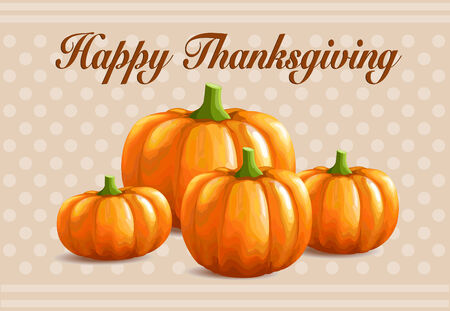 Retro Thanksgiving card with pumpkins Vector