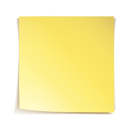 blank note: Yellow stick note paper on white background Illustration
