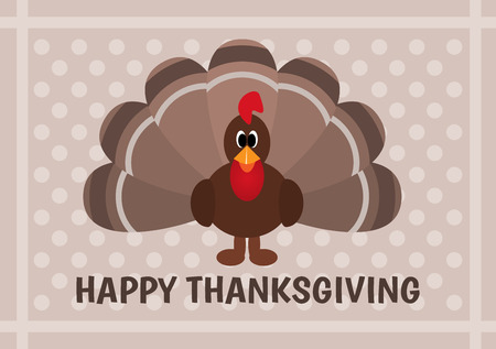 Thanksgiving card with cartoon of turkey bird Vector