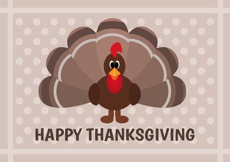 indian thanksgiving: Thanksgiving card with cartoon of turkey bird