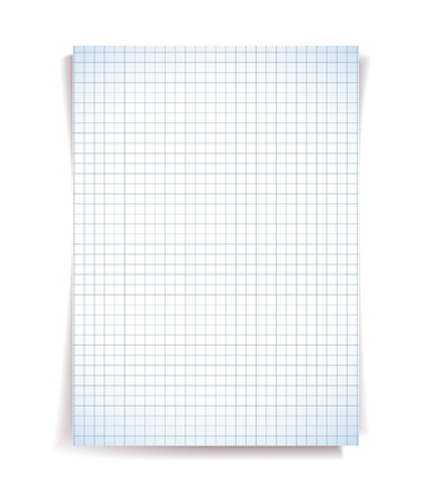 blank note: White squared notebook paper on white background