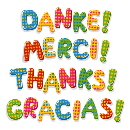 merci: Thanks colorful lettering with polka dot pattern