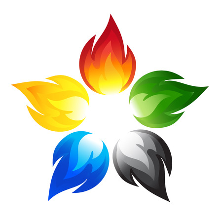 bonfire: Fire flower with the colors of the five continents