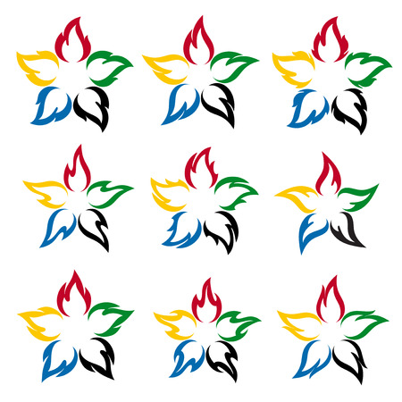 Fire flower with the colors of the five continents Vector