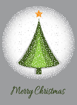 Merry Christmas card with graphic Christmas tree and snow Vector