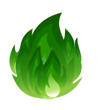 flammable: Green fire icon Illustration