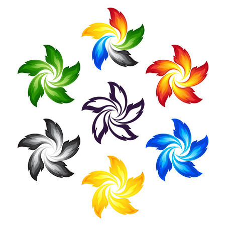 Fire flowers with the colors of the five continents Vector