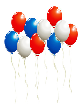 red balloons: Balloons in white, blue and red