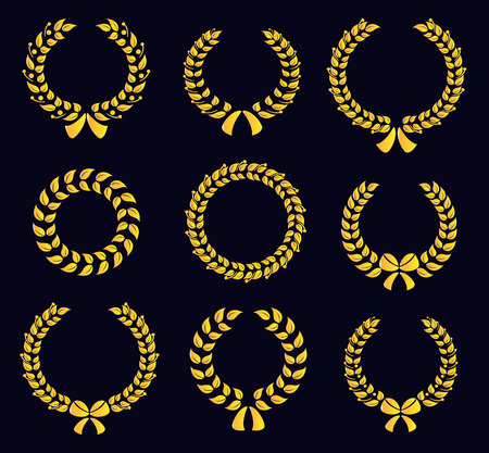 wreath of wheat: Set of silhouette circular laurel wreaths