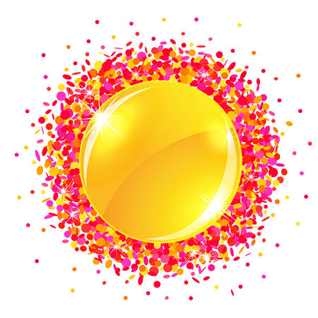 Sun button with confetti Vector