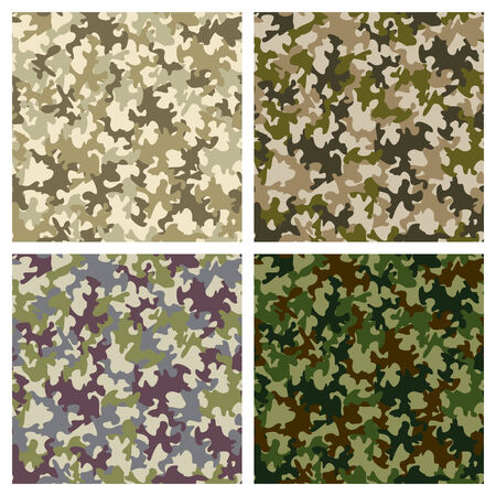 fatigues: Set of seamless camouflage pattern in blue