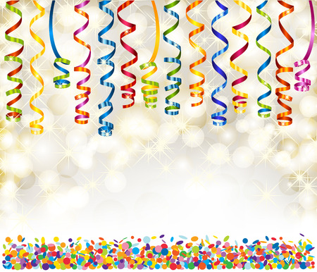 Background with lights, snowflakes, serpentine and confetti Vector