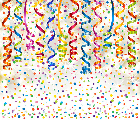 xm: Background with lights, serpentine and confetti