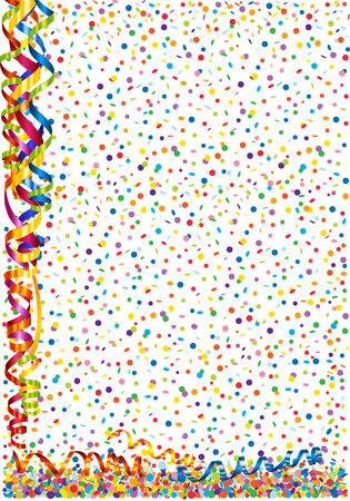 Background with confetti and serpentine Illustration