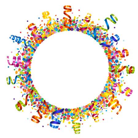 Confetti and serpentine round frame Illustration