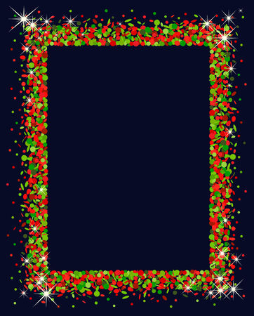 feasting: Confetti frame in red and green