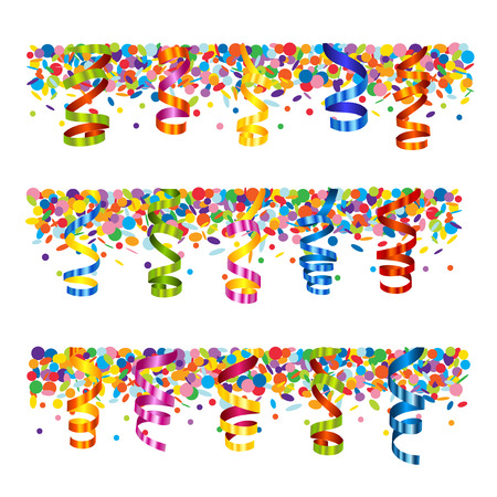 Confetti and serpentine banner Vector