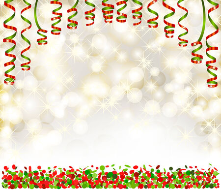 spangle: Background with lights, snowflakes, serpentine and confetti