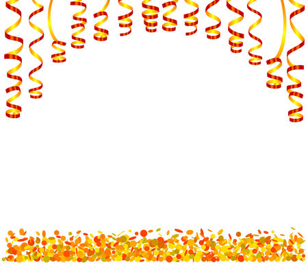 Background with serpentine and confetti Illustration