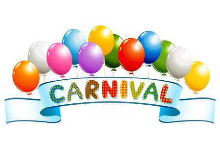 cartoon carnival: Banner with balloons and carnival word