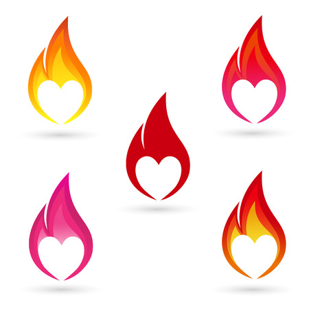 Icons of fire with heart silhouette Illustration