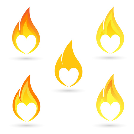 heart heat: Icons of fire with heart silhouette Illustration