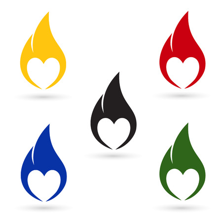 Icons of fire with heart silhouette Vector
