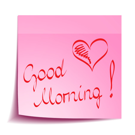 Good Morning note with heart Vector