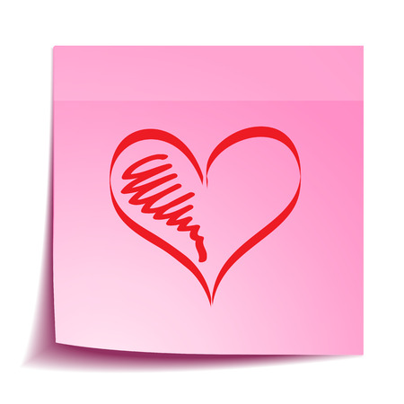 Note with hand drawing heart Stok Fotoğraf - 35801791